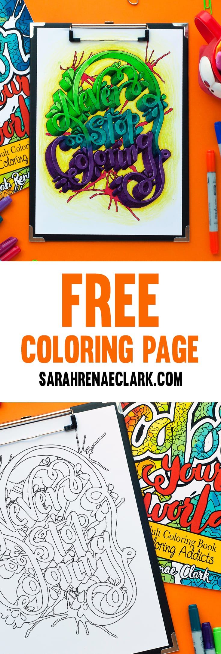 Never Stop Coloring - Free coloring page for adults | Sample adult coloring page from
