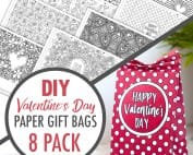 DIY Valentine's Day Paper Gift Bags   Learn how to make your own cute coloring page paper gift bags - what a great gift idea for Valentine's Day! Watch the video instructions and download your free sample at www.sarahrenaeclark.com  Valentine's Day Craft, DIY Valentine's Day, DIY paper gift bag, DIY gift bag, Valentine's Day activity, DIY craft, free craft template, DIY gift bag tutorial, video tutorial, printable template