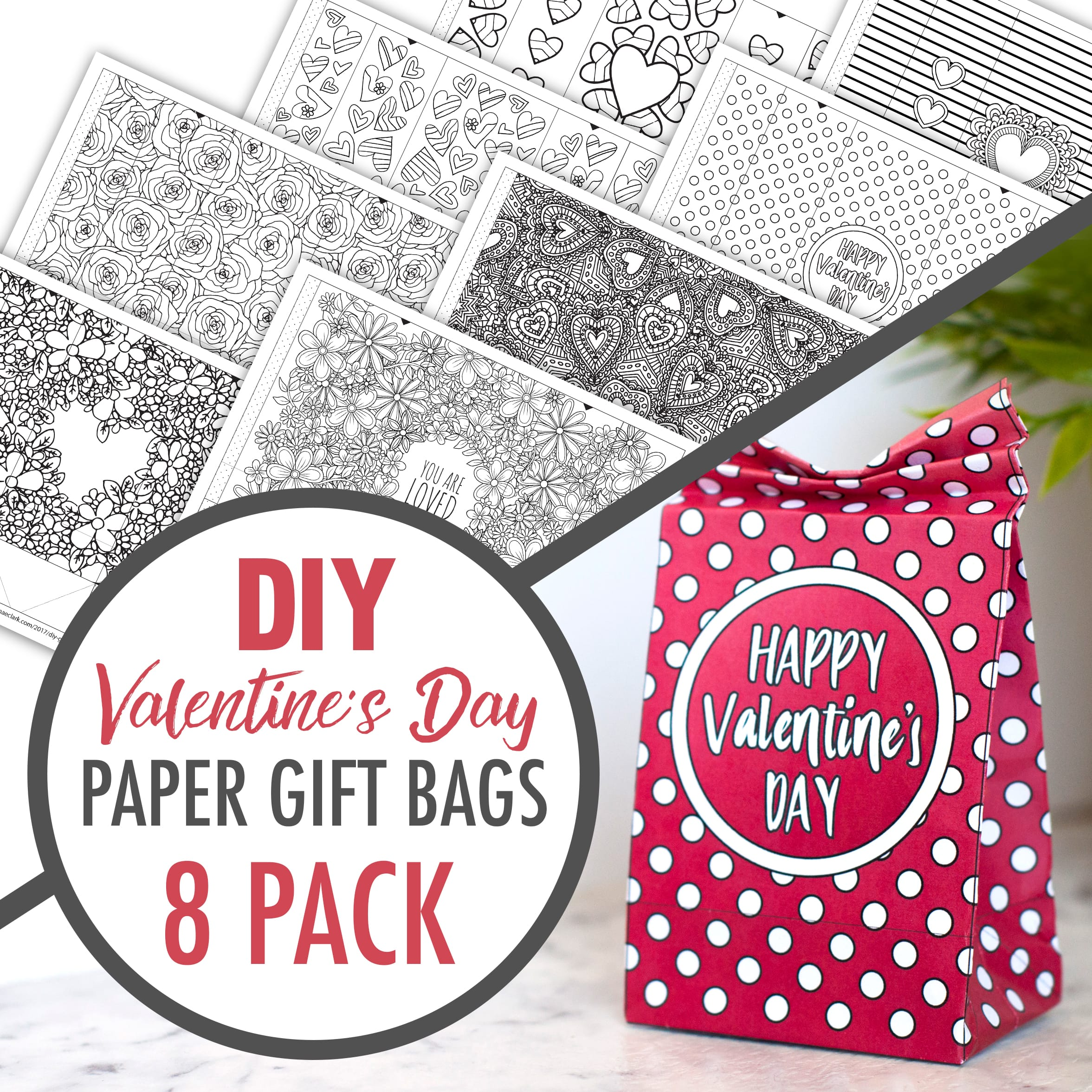DIY Valentine's Day Paper Gift Bags | Learn how to make your own cute coloring page paper gift bags - what a great gift idea for Valentine's Day! Watch the video instructions and download your free sample at www.sarahrenaeclark.com| Valentine's Day Craft, DIY Valentine's Day, DIY paper gift bag, DIY gift bag, Valentine's Day activity, DIY craft, free craft template, DIY gift bag tutorial, video tutorial, printable template