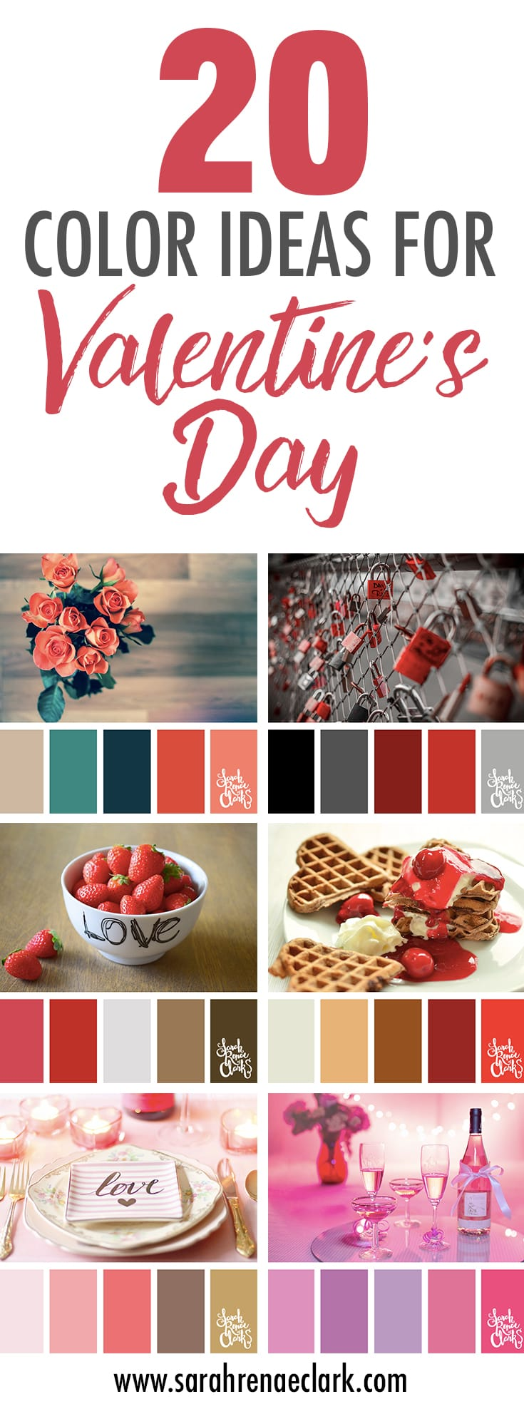 20 Color Ideas For Valentine's Day | Color Palettes, Color Schemes, Color Inspiration | www.sarahrenaeclark.com