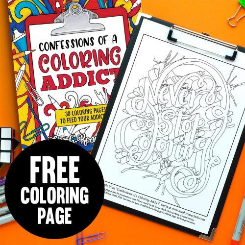 "Free coloring page ""Never Stop Coloring"""