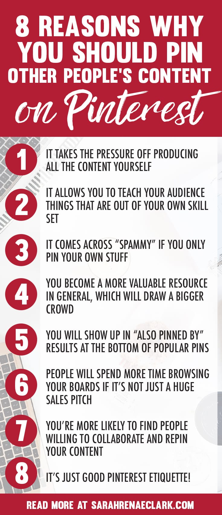 Here's 8 reasons why you should start saving content from other people on Pinterest - Don't just pin your own stuff! | More Pinterest marketing tips at www.sarahrenaeclark.com