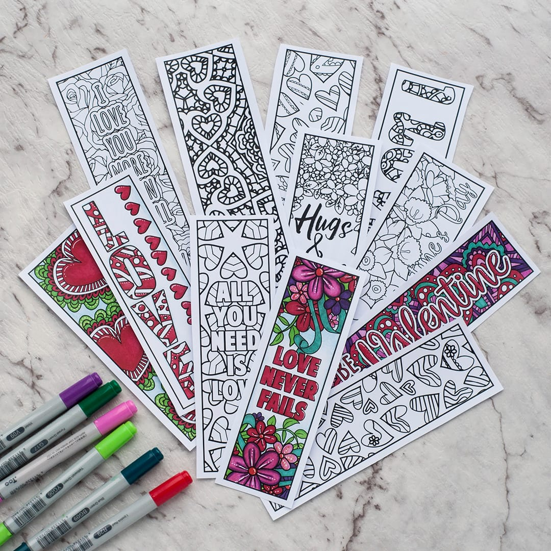 Valentine bookmark to color - Free Printable Valentine S Day Coloring Bookmarks