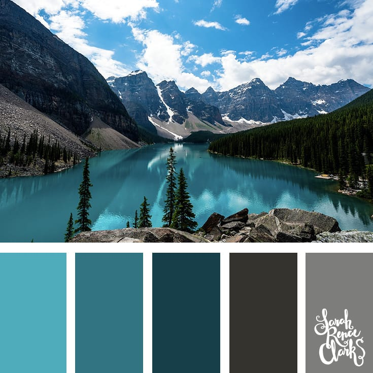 Teal and gray color palette - I love this vibrant color scheme! | Click for more color combinations inspired by beautiful landscapes and other coloring inspiration at https://sarahrenaeclark.com | Colour palettes, colour schemes, color therapy, mood board, color hue