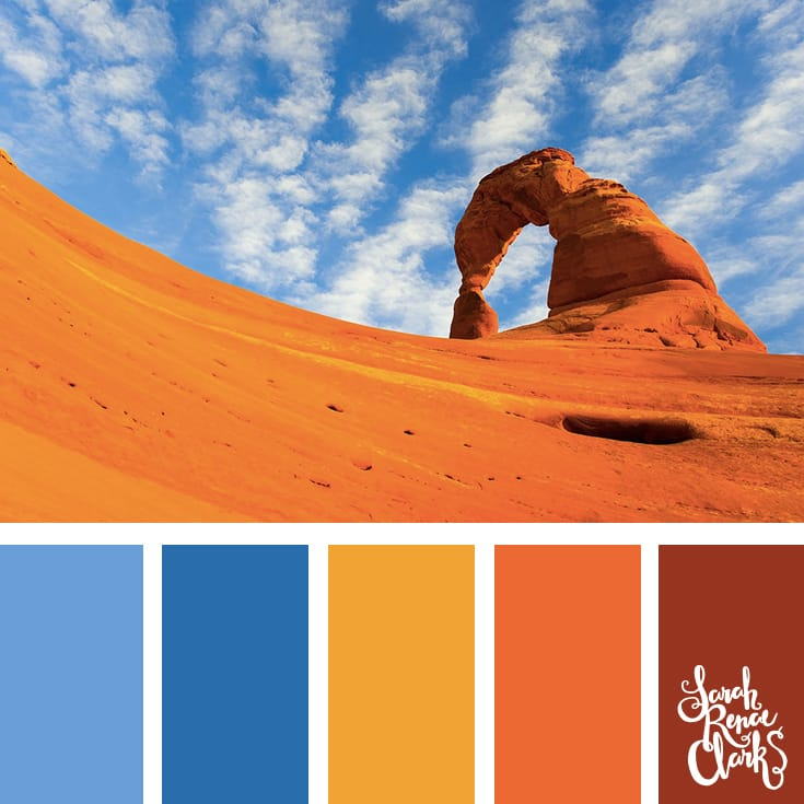 Vibrant desert color palette - The sand is so bright! Blue, yellow, orange and red color scheme. | Click for more color combinations inspired by beautiful landscapes and other coloring inspiration at https://sarahrenaeclark.com | Colour palettes, colour schemes, color therapy, mood board, color hue