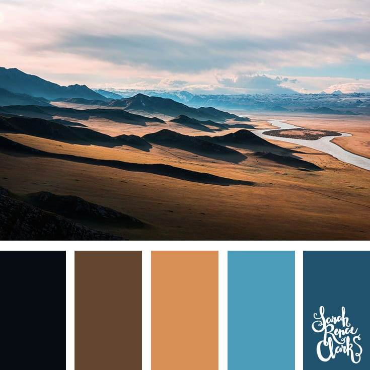 This view is breathtaking, and it makes a great color palette full of browns and blue hues | Click for more color combinations inspired by beautiful landscapes and other coloring inspiration at http://sarahrenaeclark.com | Colour palettes, colour schemes, color therapy, mood board, color hue