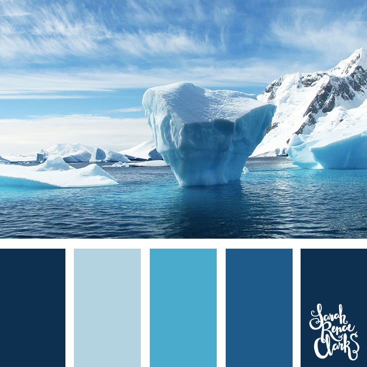 A cool color palette inspired by the icy Antartica... blue hues and winter color inspiration | Click for more color combinations inspired by beautiful landscapes and other coloring inspiration at https://sarahrenaeclark.com | Colour palettes, colour schemes, color therapy, mood board, color hue