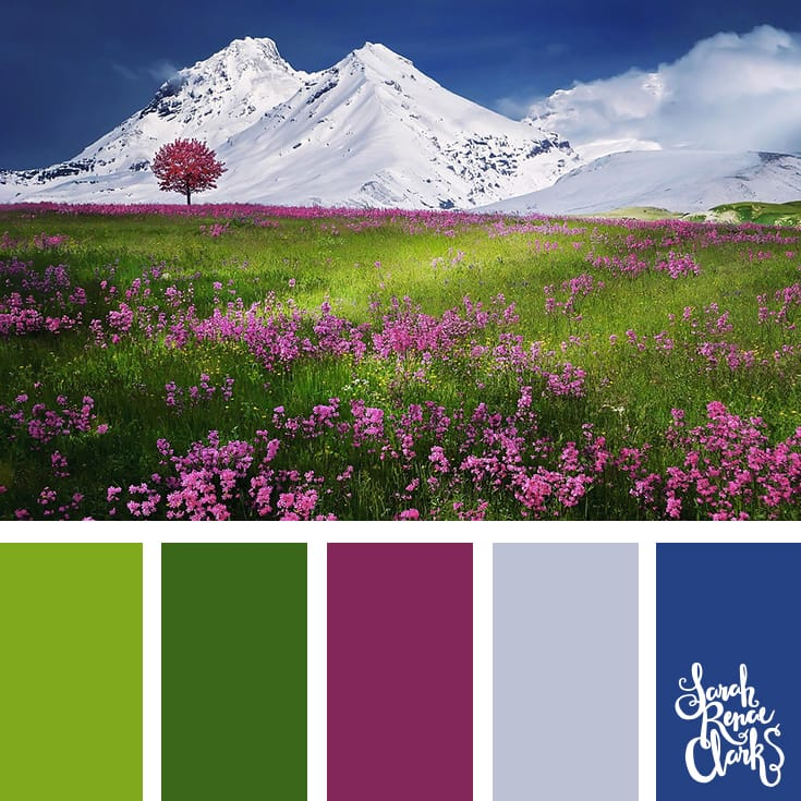 The pink in this scene provides a beautiful contrast to the green grass and blue sky - a great color combination! | Click for more color schemes inspired by beautiful landscapes and other coloring inspiration at http://sarahrenaeclark.com | Colour palettes, colour schemes, color therapy, mood board, color hue