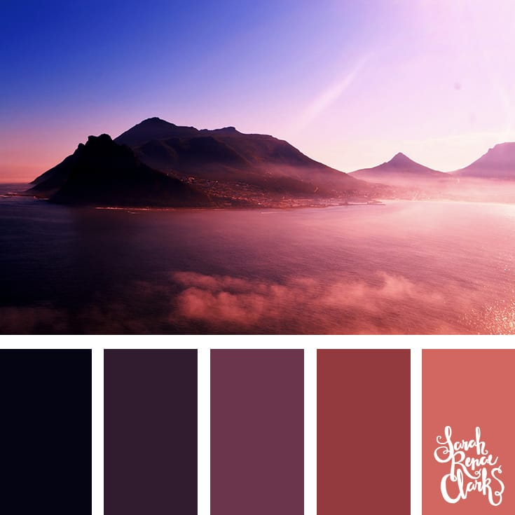 Amazing pink mountains color inspiration | Click for more color combinations inspired by beautiful landscapes and other coloring inspiration at http://sarahrenaeclark.com | Colour palettes, colour schemes, color therapy, mood board, color hue