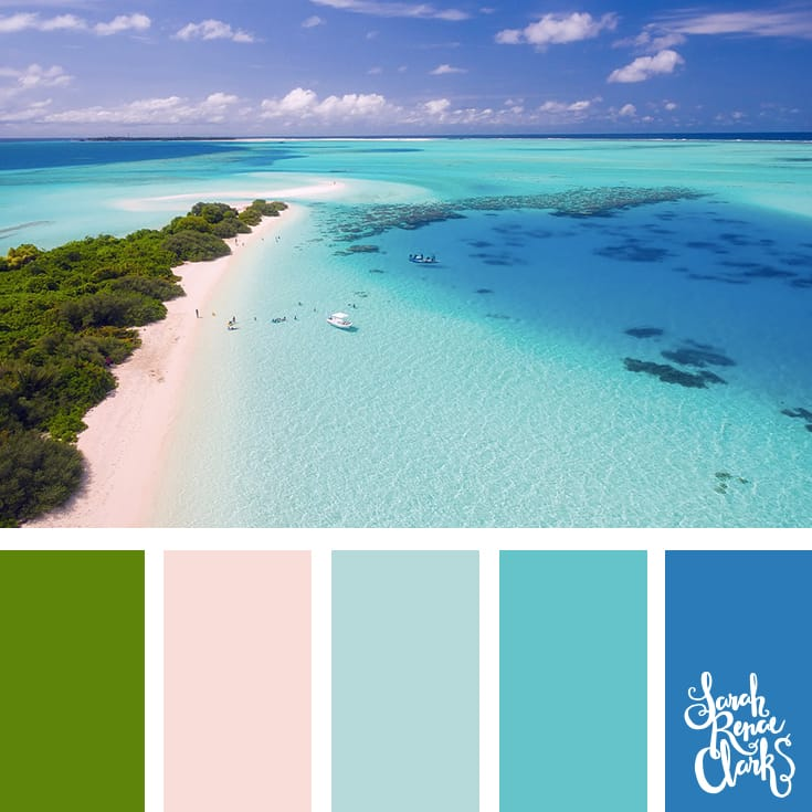Warm summer colors inspired by this beach scene - green trees, white sand and blue waves | Click for more color combinations inspired by beautiful landscapes and other coloring inspiration at http://sarahrenaeclark.com | Colour palettes, colour schemes, color therapy, mood board, color hue
