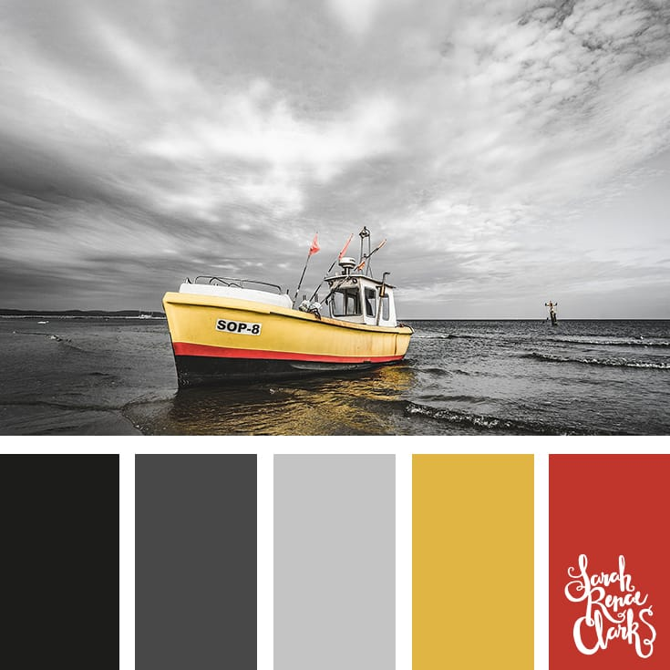 The yellow colors in this palette are a beautiful contrast to the grey scenery! | Click for more color combinations inspired by beautiful landscapes and other coloring inspiration at https://sarahrenaeclark.com | Colour palettes, colour schemes, color therapy, mood board, color hue