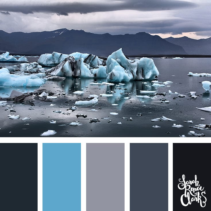 The bright icy blue in this color palette looks great with the grays and blacks... what an amazing photo for color inspiration! | Click for more color schemes inspired by beautiful landscapes and other coloring inspiration at https://sarahrenaeclark.com | Colour palettes, colour schemes, color therapy, mood board, color hue