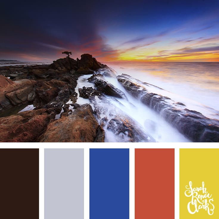 Vibrant blue, red and yellow color inspiration from this sunset over the water | Click for more color combinations inspired by beautiful landscapes and other coloring inspiration at http://sarahrenaeclark.com | Colour palettes, colour schemes, color therapy, mood board, color hue