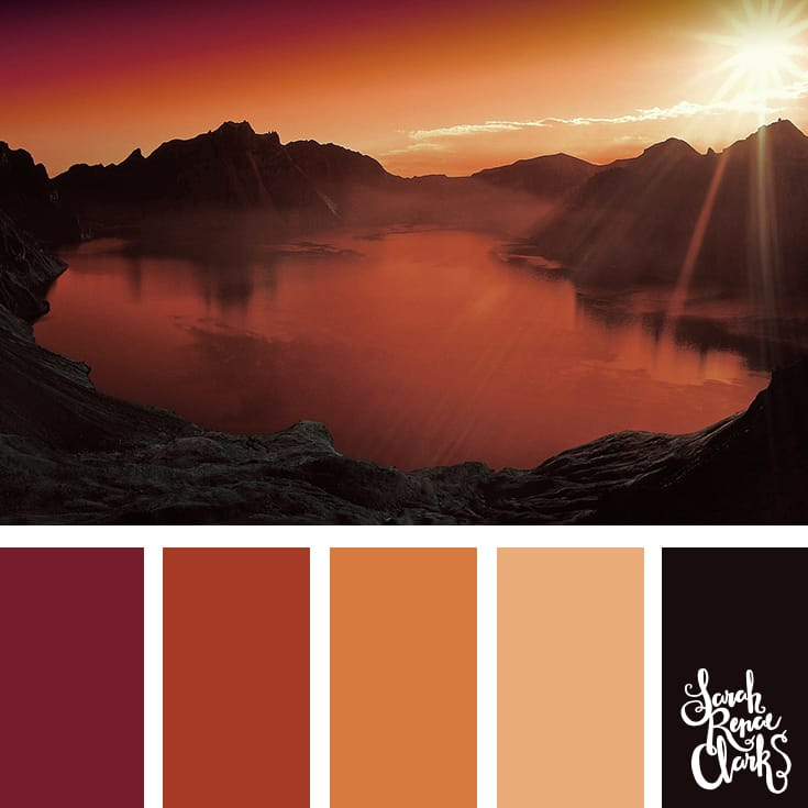 I love the warm atmosphere in this beautiful red color combination! | Click for more color palettes inspired by beautiful landscapes and other coloring inspiration at https://sarahrenaeclark.com | Colour palettes, colour schemes, color therapy, mood board, color hue