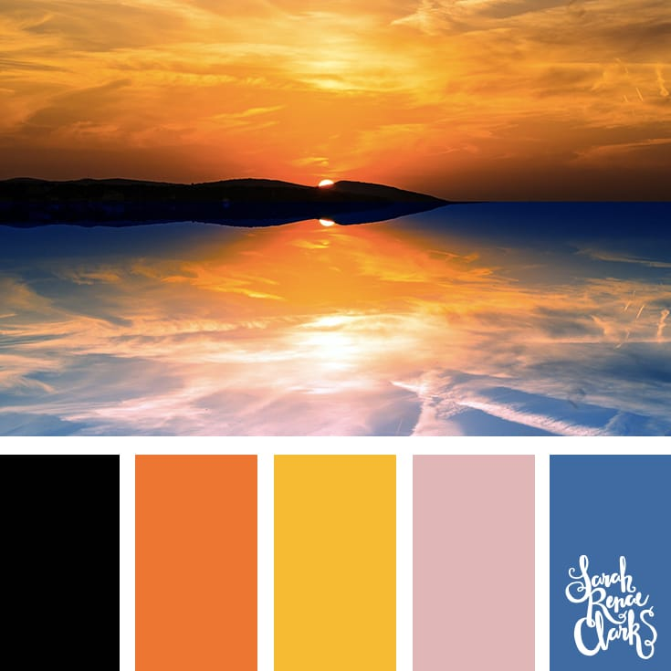Vibrant color inspiration from the sunset - bold blue, yellow, orange and black | Click for more color combinations inspired by beautiful landscapes and other coloring inspiration at https://sarahrenaeclark.com | Colour palettes, colour schemes, color therapy, mood board, color hue