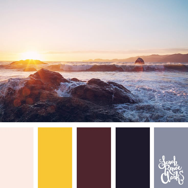 Sunset color inspiration | Click for more color combinations inspired by beautiful landscapes and other coloring inspiration at http://sarahrenaeclark.com | Colour palettes, colour schemes, color therapy, mood board, color hue