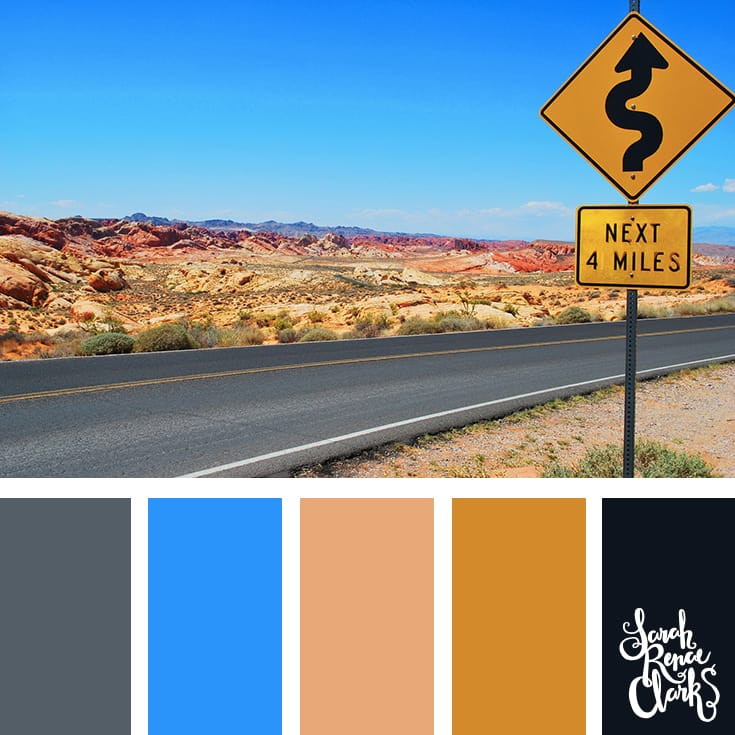 Bright color inspiration - blue sky and earthy tones | Click for more color combinations inspired by beautiful landscapes and other coloring inspiration at https://sarahrenaeclark.com | Colour palettes, colour schemes, color therapy, mood board, color hue