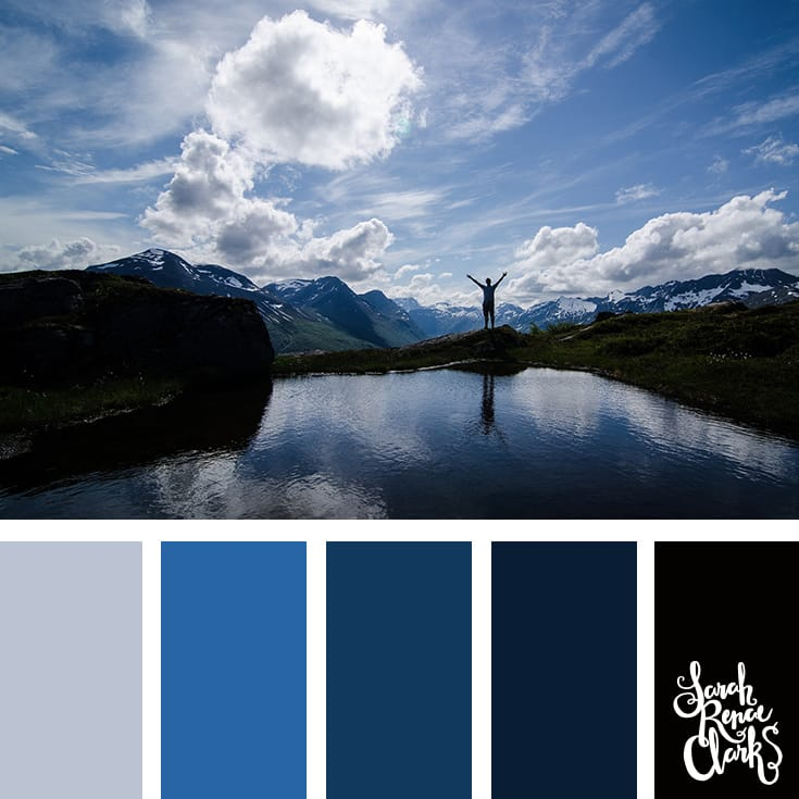 Wanderlust cool color palette inspired by the mountains... blue hues and winter color inspiration | Click for more color combinations inspired by beautiful landscapes and other coloring inspiration at http://sarahrenaeclark.com | Colour palettes, colour schemes, color therapy, mood board, color hue