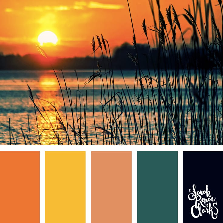 Beautiful sunset color scheme - I love the warm atmosphere in this color combination! | Click for more color palettes inspired by beautiful landscapes and other coloring inspiration at https://sarahrenaeclark.com | Colour palettes, colour schemes, color therapy, mood board, color hue