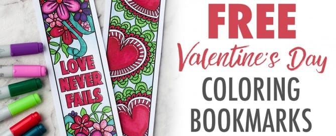 Free Valentine's Day Printable Bookmarks| Find more Valentine's coloring page craft templates at www.sarahrenaeclark.com | Valentine's Day Craft, DIY Valentine's Day, Valentine's Day activity, DIY craft, free craft template, printable coloring pages