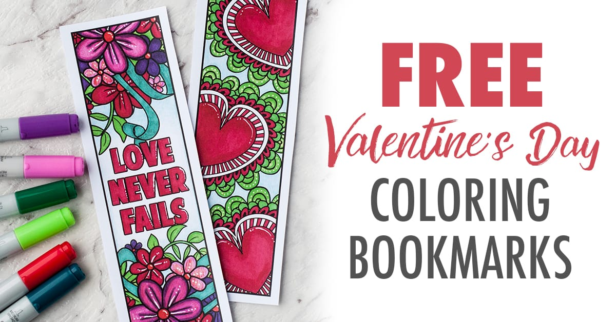 Free Valentine's Day coloring page bookmarks printable