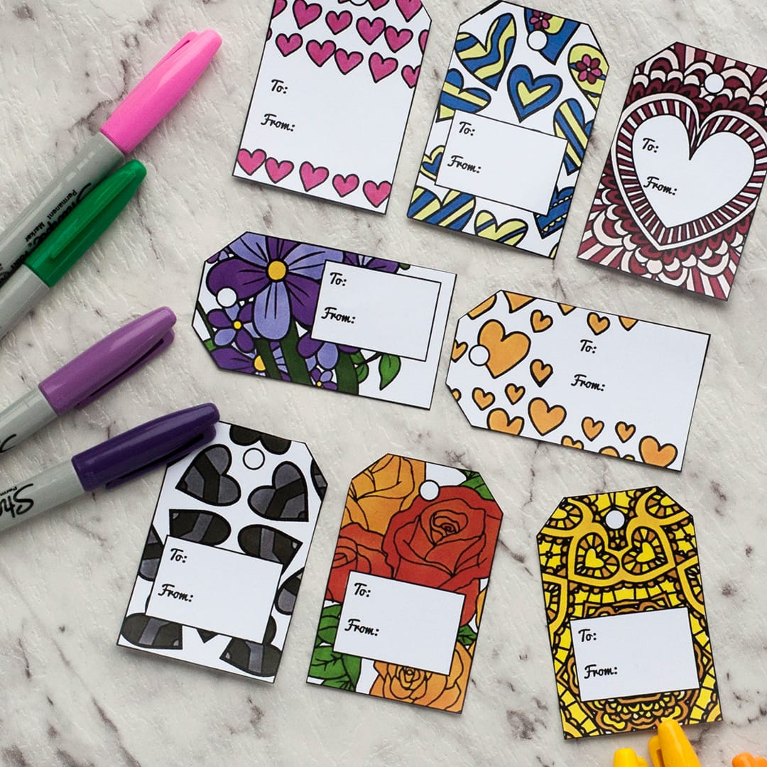 Valentine's Day Printable Gift Tags | Find more Valentine's coloring page craft templates at www.sarahrenaeclark.com| Valentine's Day Craft, DIY Valentine's Day, Valentine's Day activity, DIY craft, free craft template, printable coloring pages