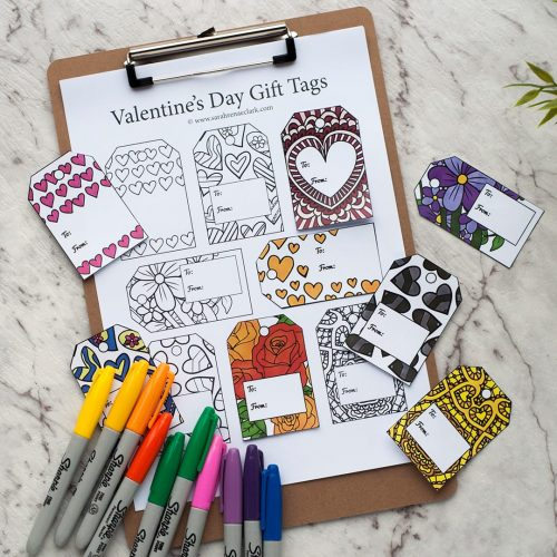 Valentine's Day Printable Gift Tags   Find more Valentine's coloring page craft templates at www.sarahrenaeclark.com  Valentine's Day Craft, DIY Valentine's Day, Valentine's Day activity, DIY craft, free craft template, printable coloring pages