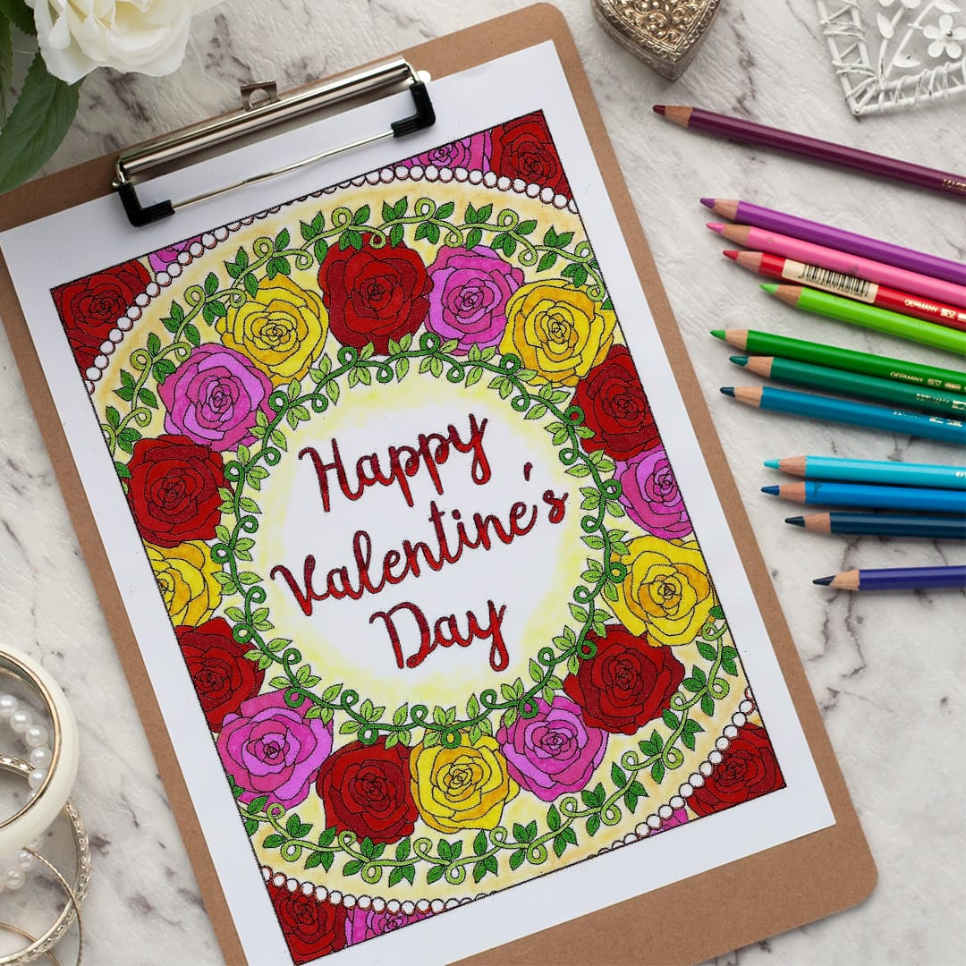 Happy Valentine's Day - Adult coloring page | Find more adult coloring pages, coloring books and printable crafts at www.sarahrenaeclark.com | Valentine's Day craft, printable coloring pages, adult coloring pages