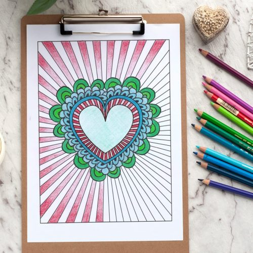 Heart burst - Adult coloring page | Find more adult coloring pages, coloring books and printable crafts at www.sarahrenaeclark.com | Valentine's Day craft, printable coloring pages, adult coloring pages
