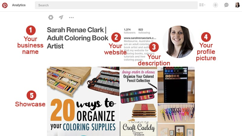 A look at what's included in your Pinterest profile | Pinterest Marketing Tips | www.sarahrenaeclark.com