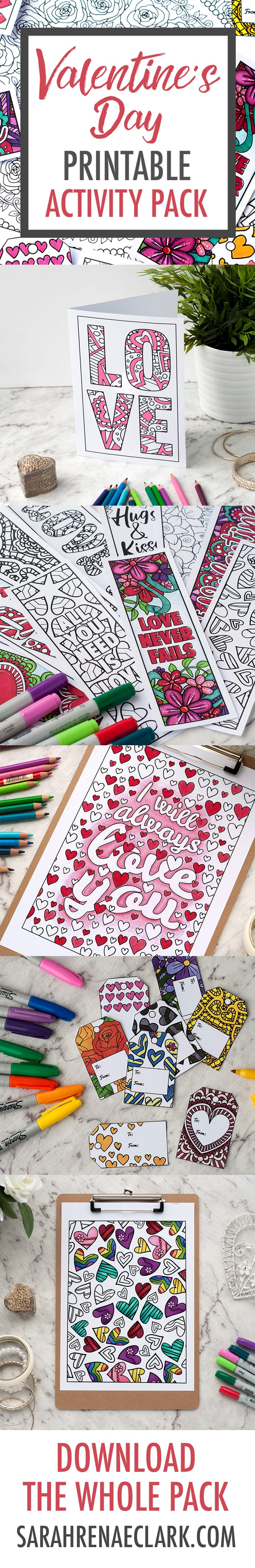 Valentine's Day Printable Activity Pack | Full of Valentine's Day coloring printables - coloring pages, bookmarks, gift tags, Valentine Cards, DIY gift bags | Find more Valentine's coloring page craft templates at www.sarahrenaeclark.com| Valentine's Day Craft, DIY Valentine's Day, Valentine's Day activity, DIY craft, free craft template, printable coloring pages