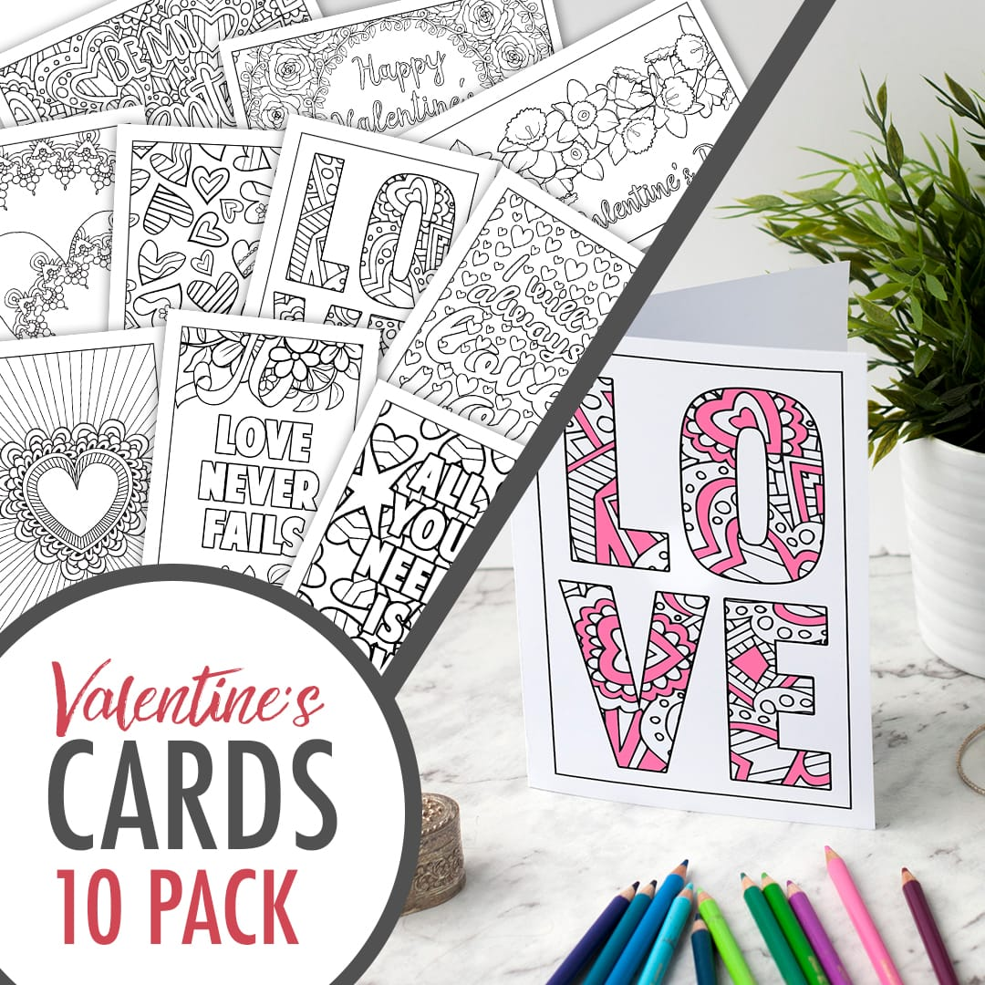 Free printable Valentine's Day coloring bookmarks