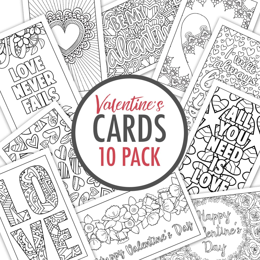 valentine u0027s day cards set of 10 sarah renae clark coloring