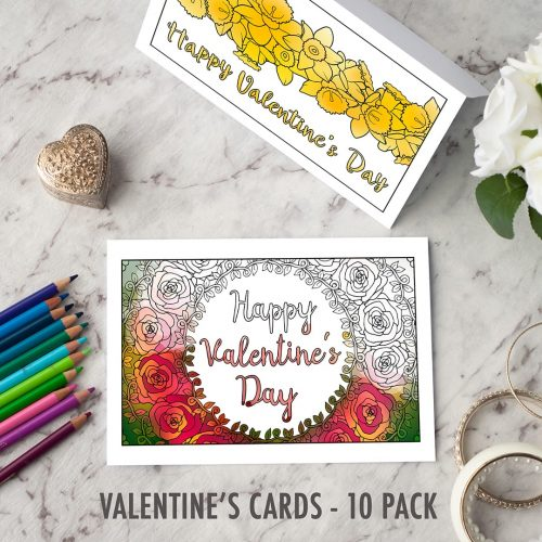 Valentine's Day Printable Cards   Find more Valentine's coloring page craft templates at www.sarahrenaeclark.com  Valentine's Day Craft, DIY Valentine's Day, Valentine's Day activity, DIY craft, free craft template, printable coloring pages