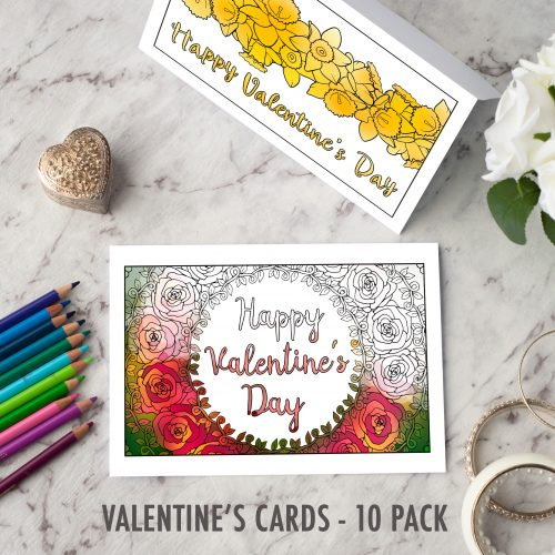 Valentine's Day Printable Cards | Find more Valentine's coloring page craft templates at www.sarahrenaeclark.com| Valentine's Day Craft, DIY Valentine's Day, Valentine's Day activity, DIY craft, free craft template, printable coloring pages