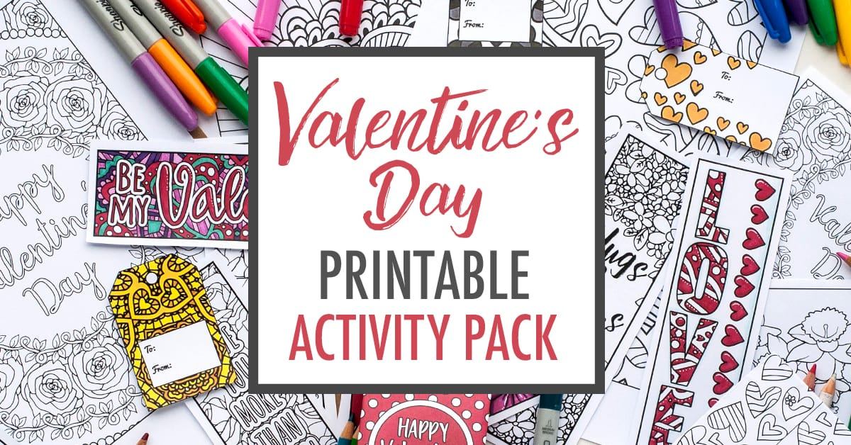 Valentine's Day Printable Activity Pack | Coloring pages, bookmarks, Valentine Cards, gift tags, DIY gift bags | Find more Valentine's coloring page craft templates at www.sarahrenaeclark.com| Valentine's Day Craft, DIY Valentine's Day, Valentine's Day activity, DIY craft, free craft template, printable coloring pages