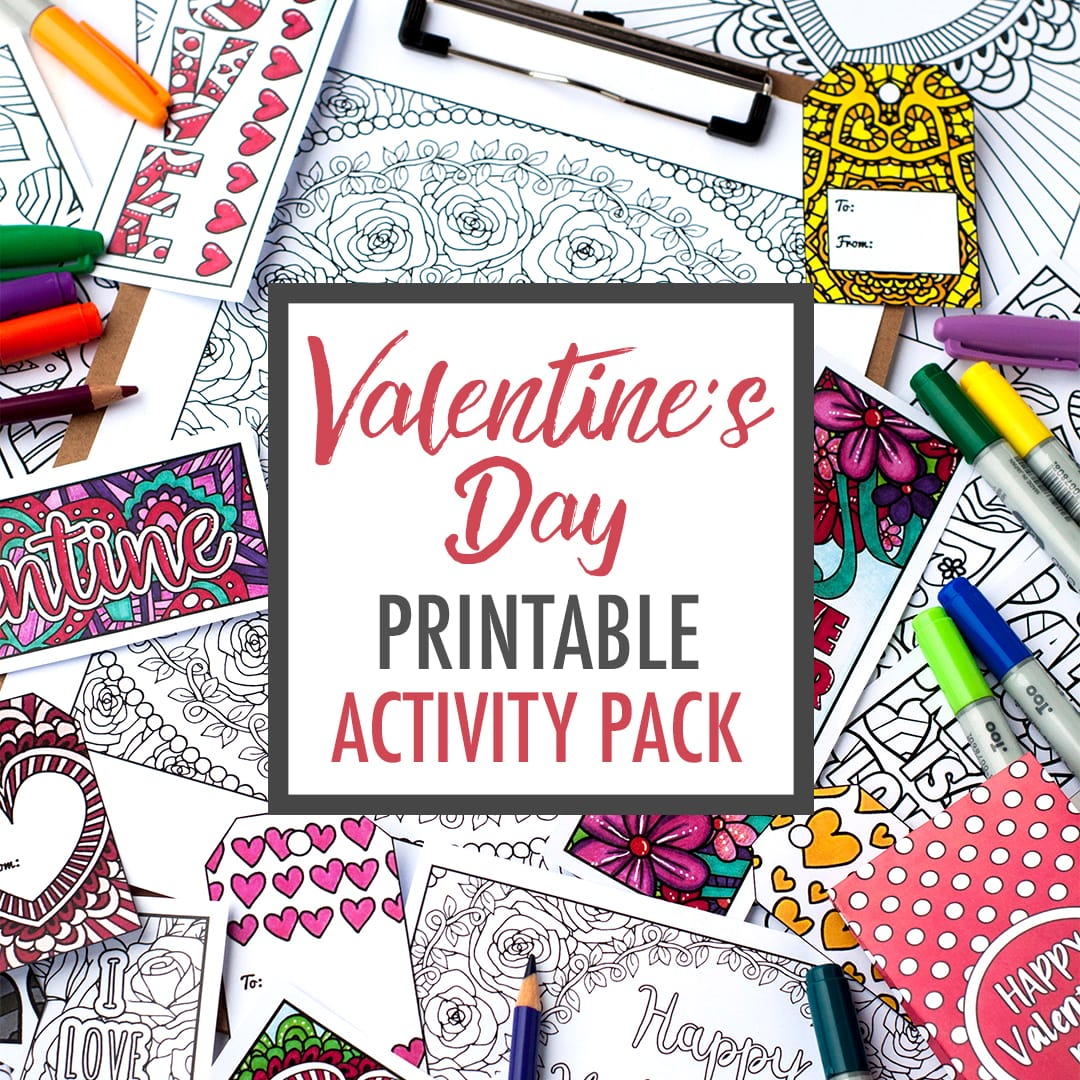 Valentine's Day Printable Activity Pack | Print and color your own Valentine's Day cards, coloring pages, bookmarks, gift tags, DIY gift bags and more! Get it at www.sarahrenaeclark.com