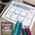Printable week planner – 10 different designs | Find more printables and coloring pages at www.sarahrenaeclark.com | coloring for adults, organizational printables, bullet journaling, get organized, printable planners, week planning, organize everything, organized life, home management, home binder organization, printable organizer, family charts, family command center, week tracker