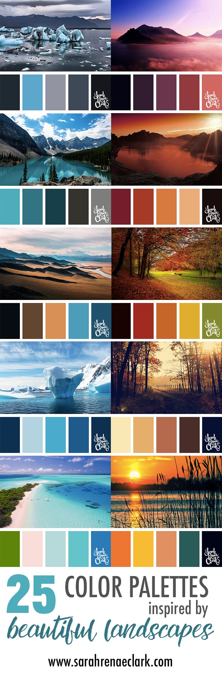 These amazing landscapes are a great source of color inspiration | Click to see all 25 color combinations inspired by beautiful landscapes. You can find more color schemes at https://sarahrenaeclark.com | Colour palettes, colour schemes, color therapy, mood board, color hues and tones
