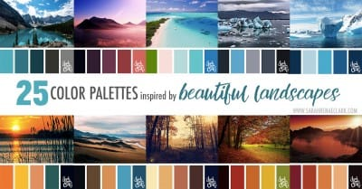 25 Color Palettes Inspired by Beautiful Landscapes | Click for more color combinations inspired by beautiful landscapes and other coloring inspiration at https://sarahrenaeclark.com | Colour palettes, colour schemes, color therapy, mood board, color hue
