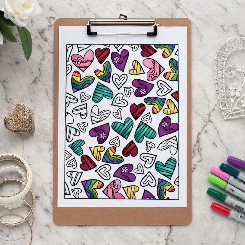 Heart - Adult coloring page | Find more adult coloring pages, coloring books and printable crafts at www.sarahrenaeclark.com | Valentine's Day craft, printable coloring pages, adult coloring pages