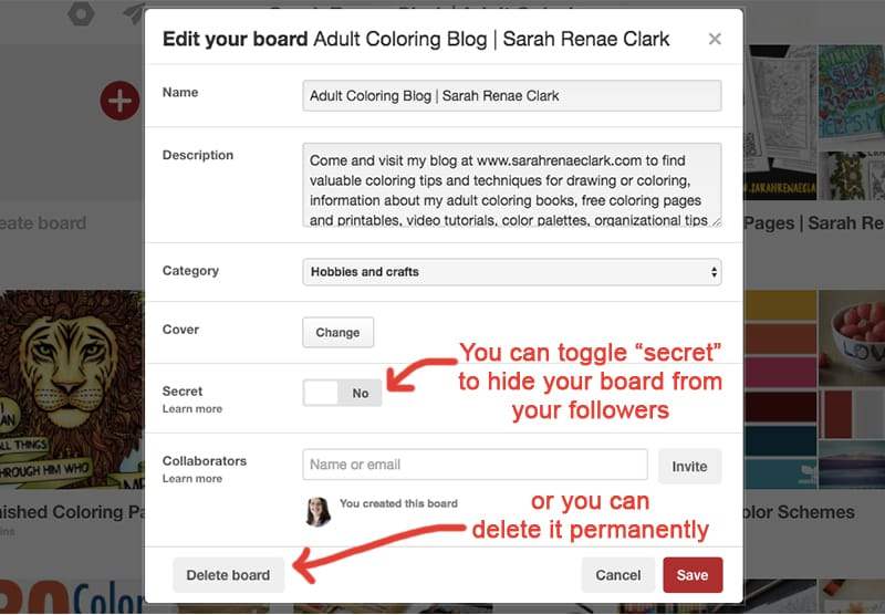 You should hide or delete any boards that are not relevant to your audience | Pinterest Marketing Tips | www.sarahrenaeclark.com
