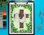 This Easter coloring page reminds me of the reason for the season | Find more Christian Easter coloring pages and printables at www.sarahrenaeclark.com