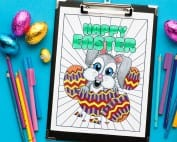 Download this adorable bunny on this Easter coloring page by Sarah Renae Clark!   Find more Easter coloring pages and printables at www.sarahrenaeclark.com