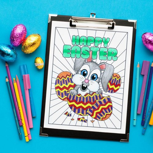 Download this adorable bunny on this Easter coloring page by Sarah Renae Clark! | Find more Easter coloring pages and printables at www.sarahrenaeclark.com