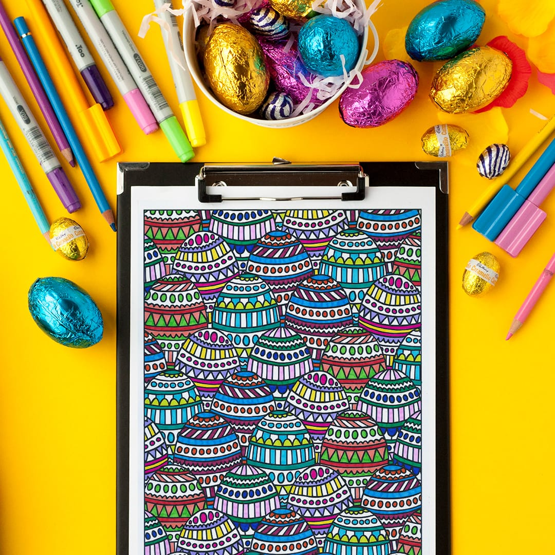 Easter eggs... yumm! Get this coloring page and other Easter printables from www.sarahrenaeclark.com