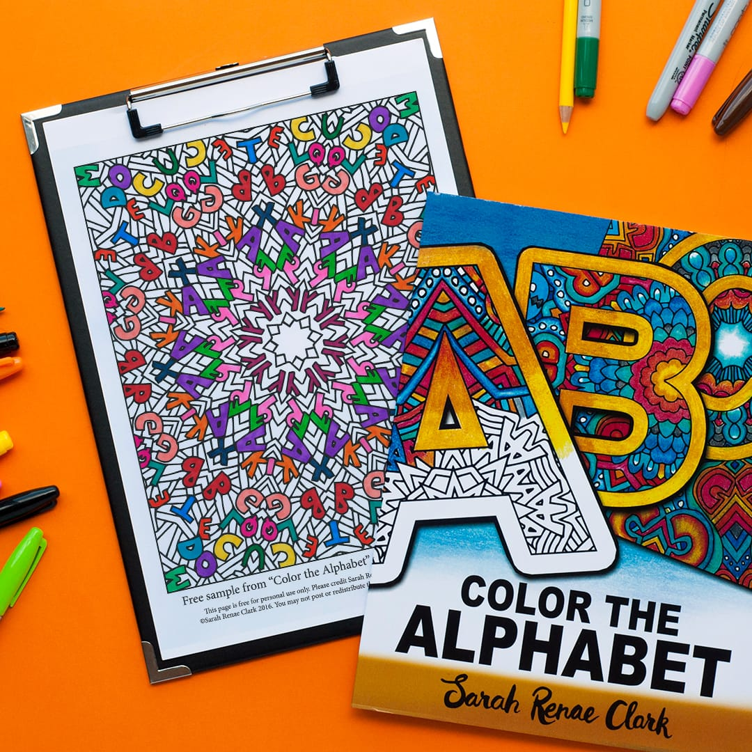 Free alphabet mandala coloring page for adults | Download more free adult coloring pages at www.sarahrenaeclark.com