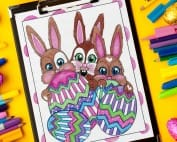 Download these adorable bunnies on this Easter coloring page by Sarah Renae Clark!   Find more Easter coloring pages and printables at www.sarahrenaeclark.com
