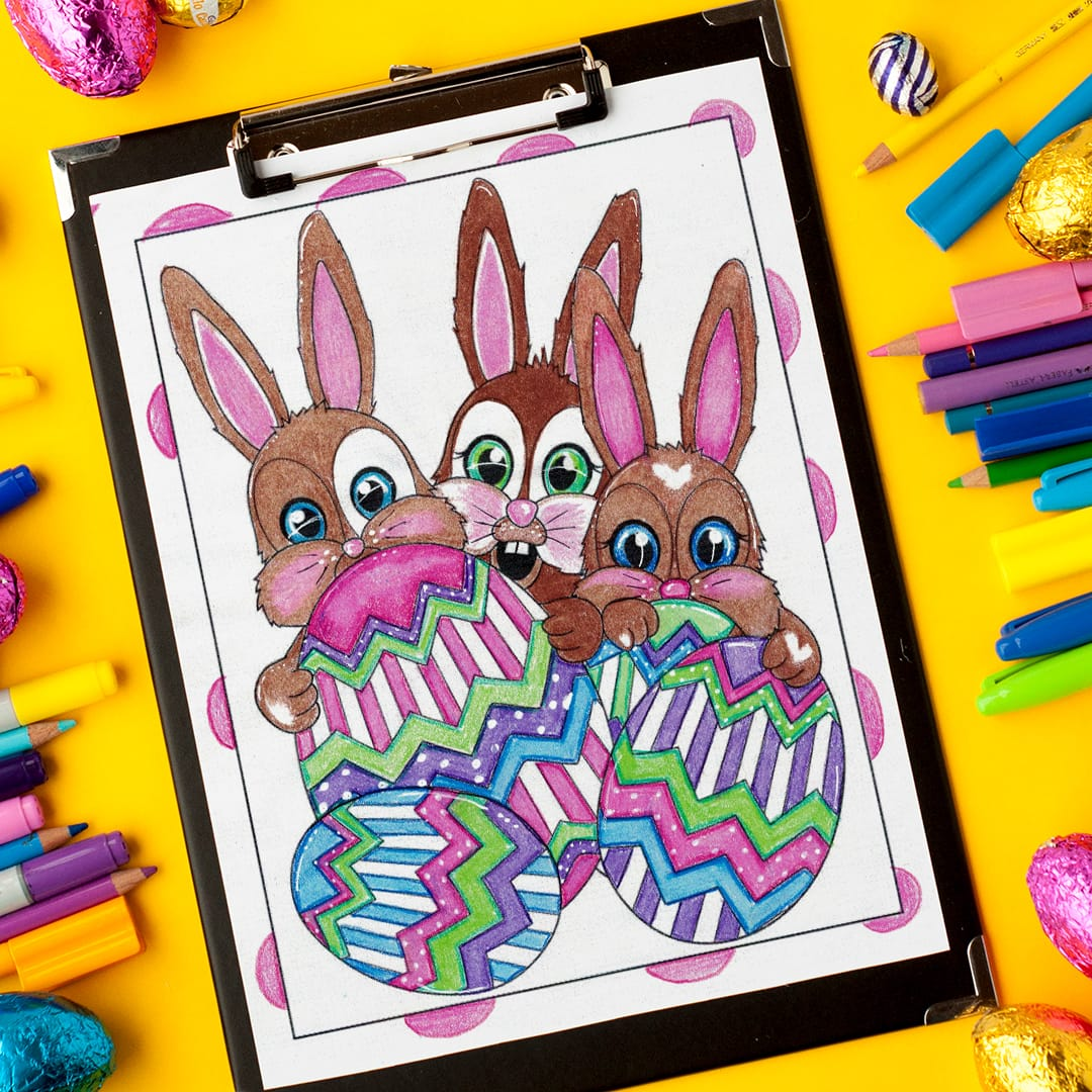 Download these adorable bunnies on this Easter coloring page by Sarah Renae Clark! | Find more Easter coloring pages and printables at www.sarahrenaeclark.com