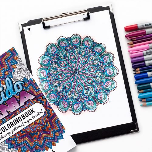 Free adult coloring page mandala from the Kaleidomania adult coloring book by Sarah Renae Clark | www.sarahrenaeclark.com | Colored by Raychell Henry